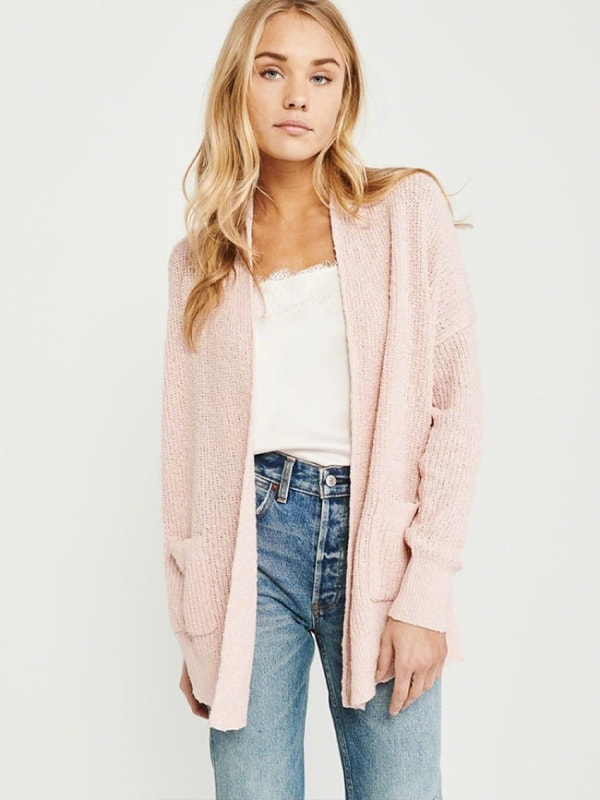 Open-front knitted cardigan